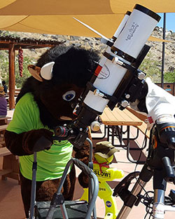 NPS Buddy Bison looks through the scopes