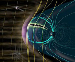 graphic showing the effect of rare solar wind on Earth's radiation belts