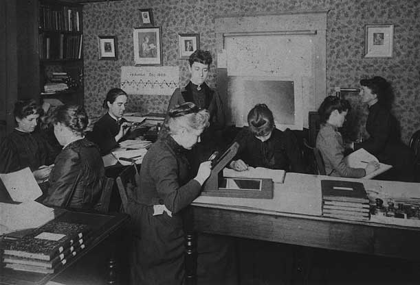 A group of women computers, directed by Williamina Fleming, back center standing.